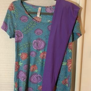 Lularoe outfit medium rose classic and os solid